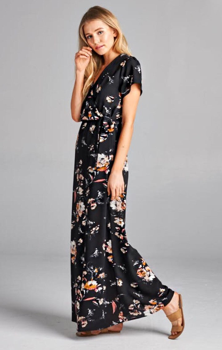 7679474a22 Beautiful Dark Floral Of Spring Dress – Love Balance Style