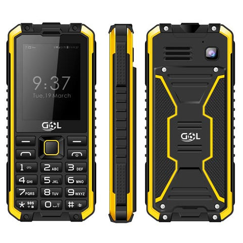 GOL R2 MADRID IP68 WATERPROOF DUAL SIM GSM CELL PHONE - BLACK/YELLOW