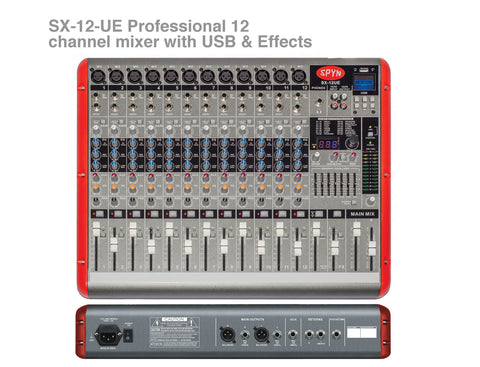 Spyn SX-12UE Professional 12 channel mixer with USB & Effects