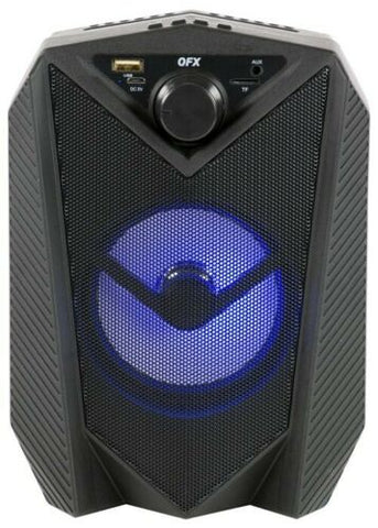 "QFX BT-3 4"" Rechargeable PA Speaker +USB/FM/AUX/LED +TWS (True Wireless Stereo)"