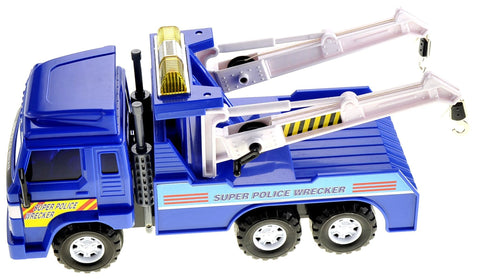 Big Heavy Duty Wrecker Tow Truck Police Toy For Kids With Friction Power (With Double Hooks)CT15