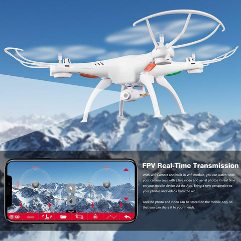 Cheerwing Syma X5SW-V3 FPV Explorers2 2.4Ghz 4CH 6-Axis Gyro RC Headless Quadcopter Drone UFO with HD Wifi Camera (White)Headless/IOC function