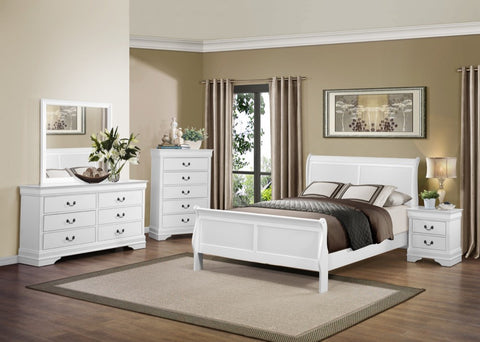 Louis Philippe 24500Q 4-Piece Sleigh Bedroom Queen Set in White (1 Queen Bed / 1 Dresser / 1 Mirror / 1 Night Stand)
