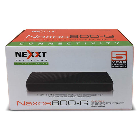 Nexxt Solutions 8-Port Gigabit Fast Ethernet Network Switch [Naxos800G] | Smart Plug and Play Unmanaged Desktop Switch with Internet Splitter & 10/100/1000 Mbps Speeds