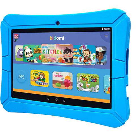 "HighQ - HighQ Learning Tab featuring Kidomi, 8"" Kids tablet, Water Resistant, 16GB Storage, Quad Core Processor, Gel Case Included - Blue"