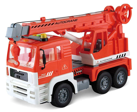 Friction Powered Construction Crane Truck Toy, with Lights and Sounds 4 Different Sound Buttons for Kids PS360D (RED)