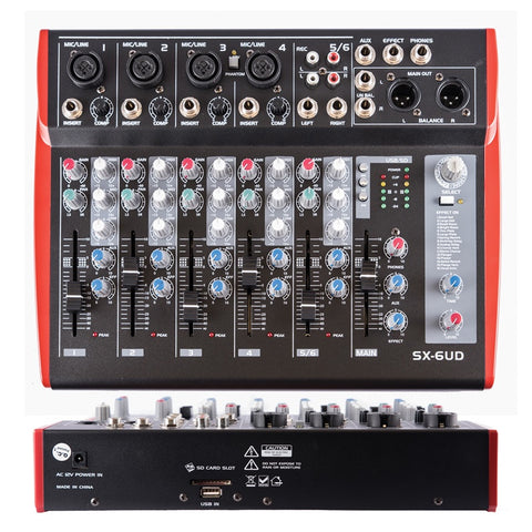 Spyn SX-6UD Professional 6 channel mixer with USB and Effects