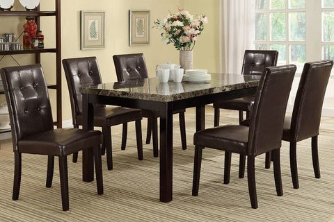 Poundex F2093 & F1078 5pc. Faux Marble Top W/Brown Leatherette Chairs Dining Set