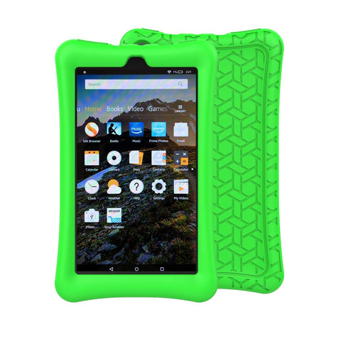 MENZO Case for All-New Amazon Fire 7 Tablet - Anti Slip Light Weight Shockproof Soft Silicone Defender Protective Case Cover for Amazon Fire 7 (7th Generation, 2017 Release) Tablet - Green