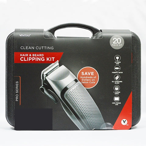VIVITAR PG-6020 20PC HAIR & BEARD TRIMMER KIT IN CARRYING CASE