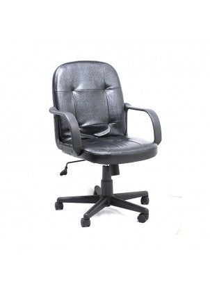 AM160GEN27Executive Office Chair w/Arm Rest | Black Leather