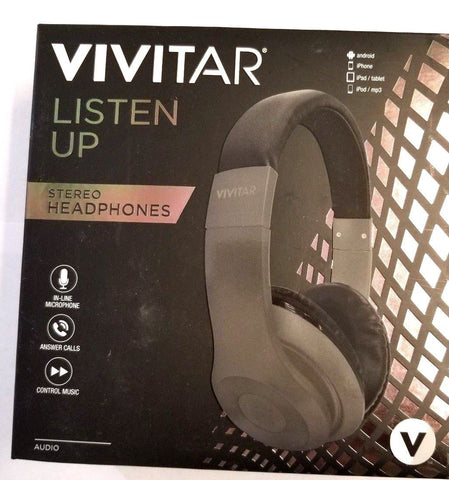 Vivitar VZ50016-BLK V. METALLIC OVER THE HEAD LISTEN UP STEREO HEADPHONES - BLACK