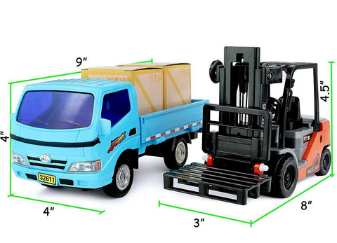 Kids Friction Powered Forklift & Truck Play Set Vehicle with 2 Cargo Boxes Plus Pallet T526