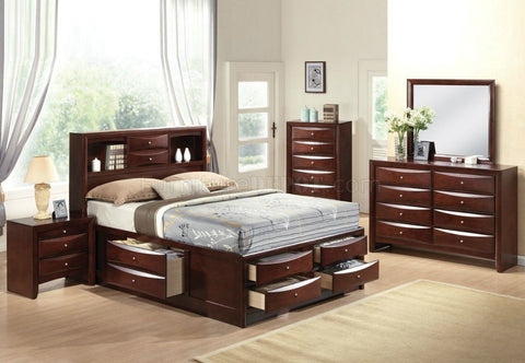 ACME Furniture 21600Q Ireland 4pc. Bedroom Set with Storage, Queen, Espresso