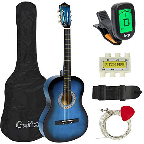 Best Choice Products Beginners Acoustic Guitar with Case, Strap, Digital E-Tuner, Pick, Pipe, & Strings - Blue