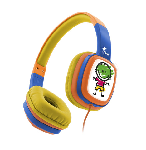 XTECH XTH-350OR SOUND ART KID WIRES HEADPHONES WITH VOLUME LIMITING TECHNOLOGY - ORANGE