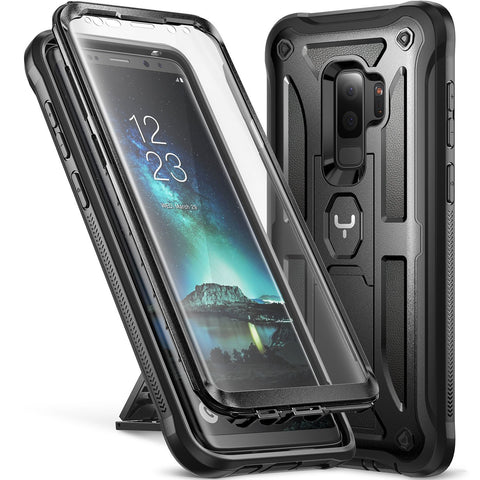YOUMAKER Kickstand Case with Built-in Screen Protector Shockproof Case Cover for Samsung Galaxy S9 Plus 6.2 inch (2018) - Black