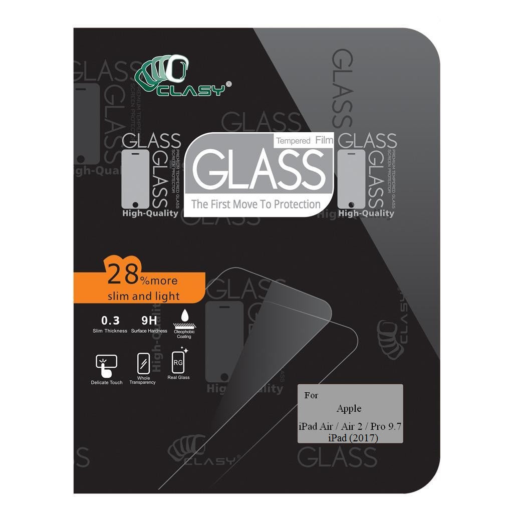 CLASY® Premium Tempered GLass - Apple iPad Air 1 / Air 2 / Pro 9.7 / iPad (2017)