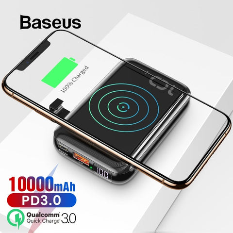 Baseus PowerBank - Mini S Bracket Wireless Charger PD+QC 10000mAh PPXFF10W-01