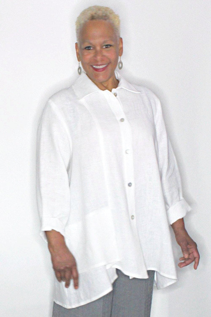 Front Flap Linen Shirt - Marjory Warren Boutique