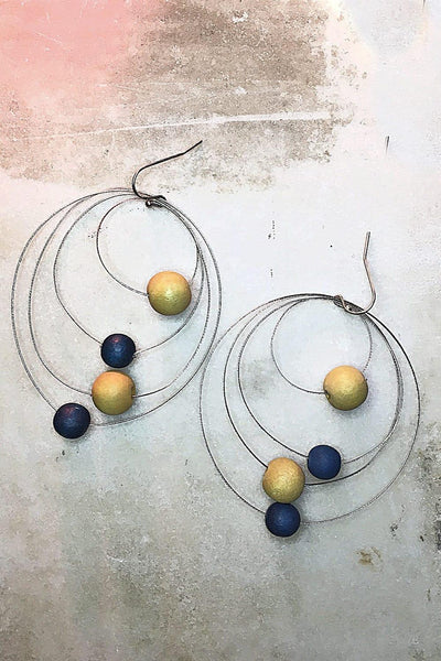Three Wire Beaded Earrings