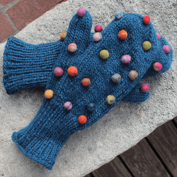Lined Wool Mitts with Felted Dots