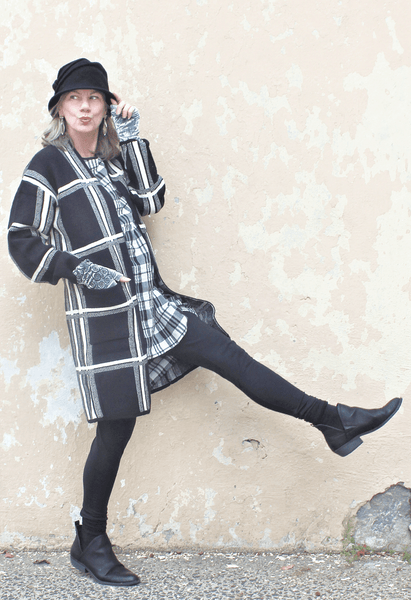 Plaid Long Sweater Coat
