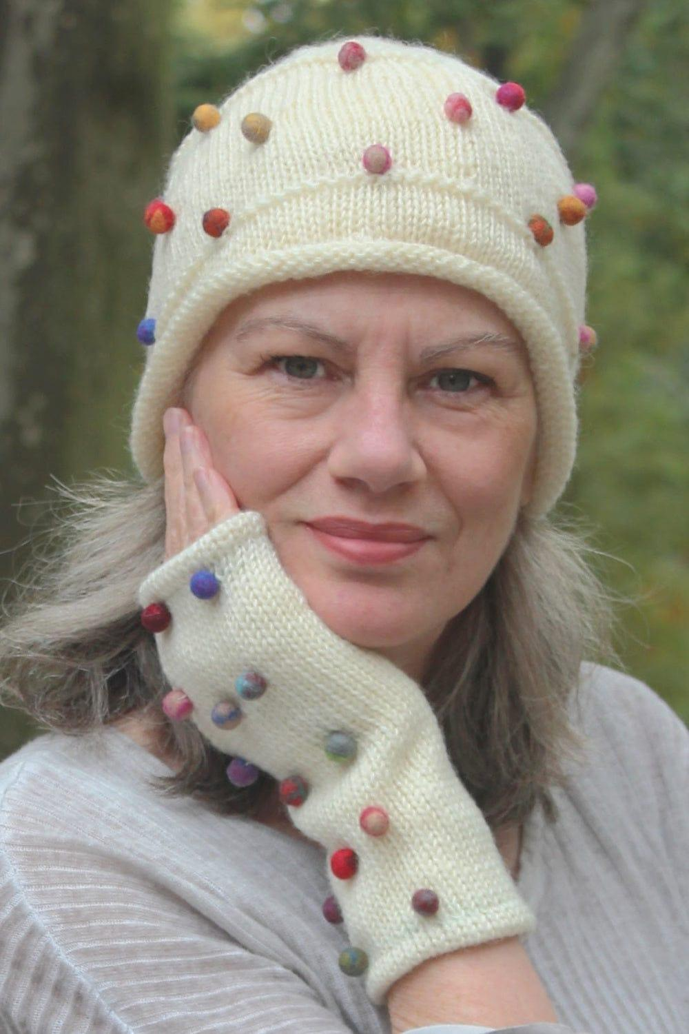 Wool Beanie with Felted Dots