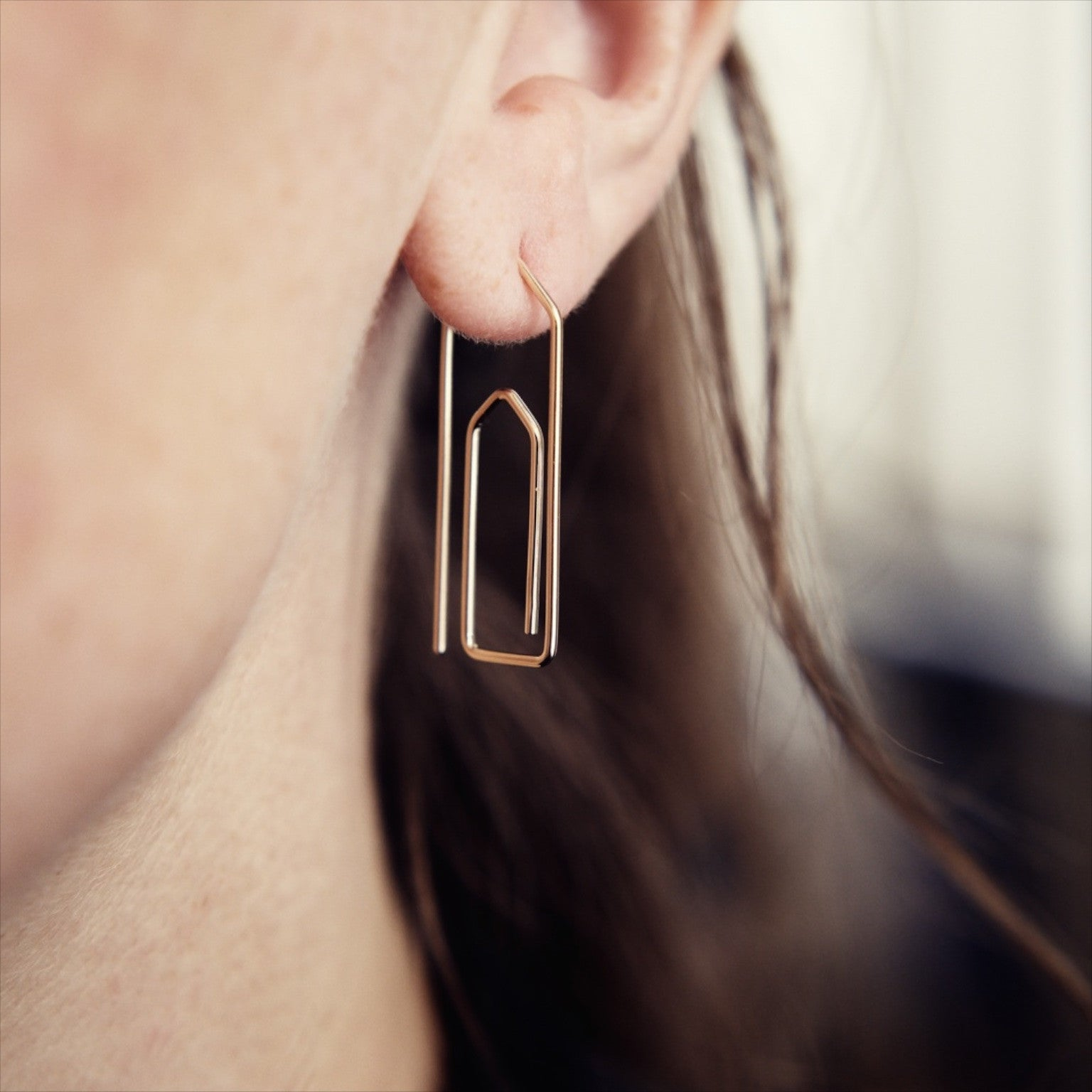 'Paperclip' Fairtrade Gold Earring