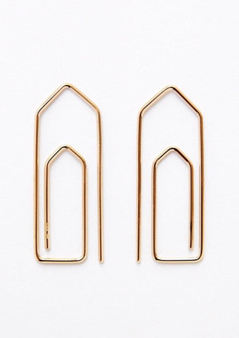 'Paperclip' Pair of Fairtrade Gold Earrings