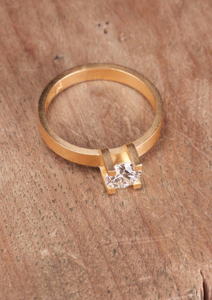 'Kirigami No. 1' Fairtrade Gold Ring with Diamond
