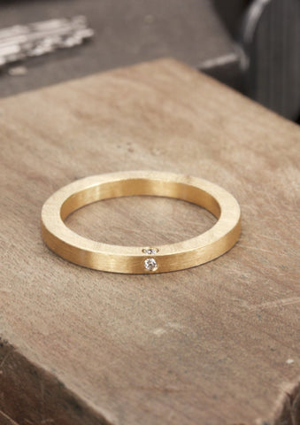 'Kvadrat' Fairtrade Gold Ring with Four Diamonds