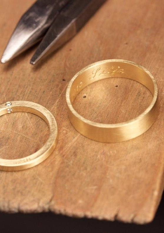 'Kvadrat' Pair of Wedding Rings Made With Fairtrade Gold