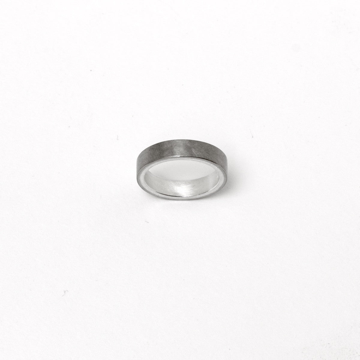 'Shades' Wide White gold and Fine Silver Ring