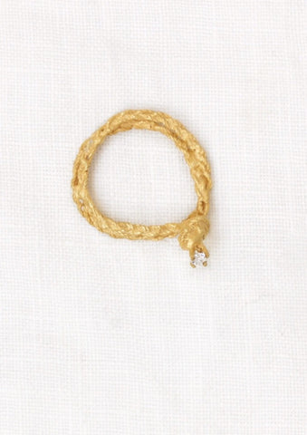 'Intertwined' Braided Gold and Diamond Ring