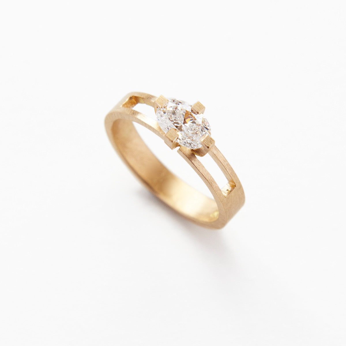 'Kirigami No. 2' Fairtrade Gold Ring with Oval Cut Diamond