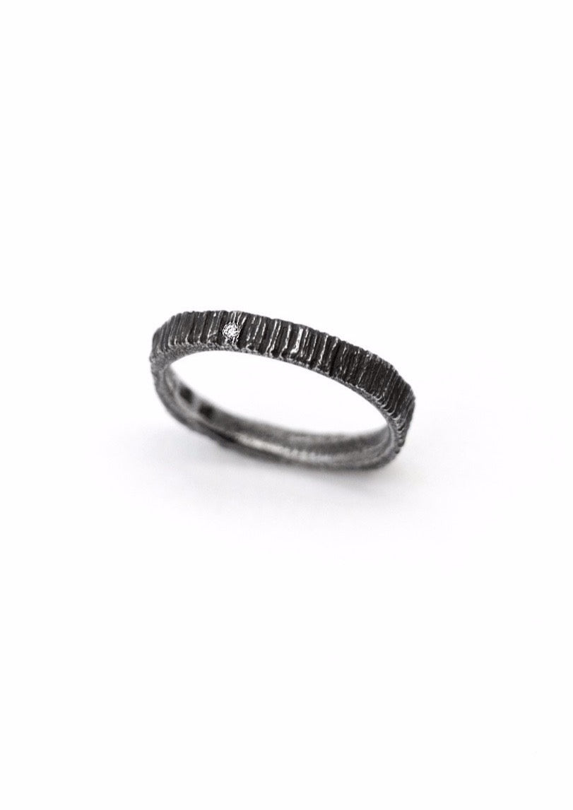 'Woodring No. 1' Oxidized Silver Ring with Diamond