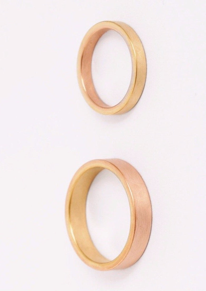 """Bicolor"" two coloured gold wedding rings"