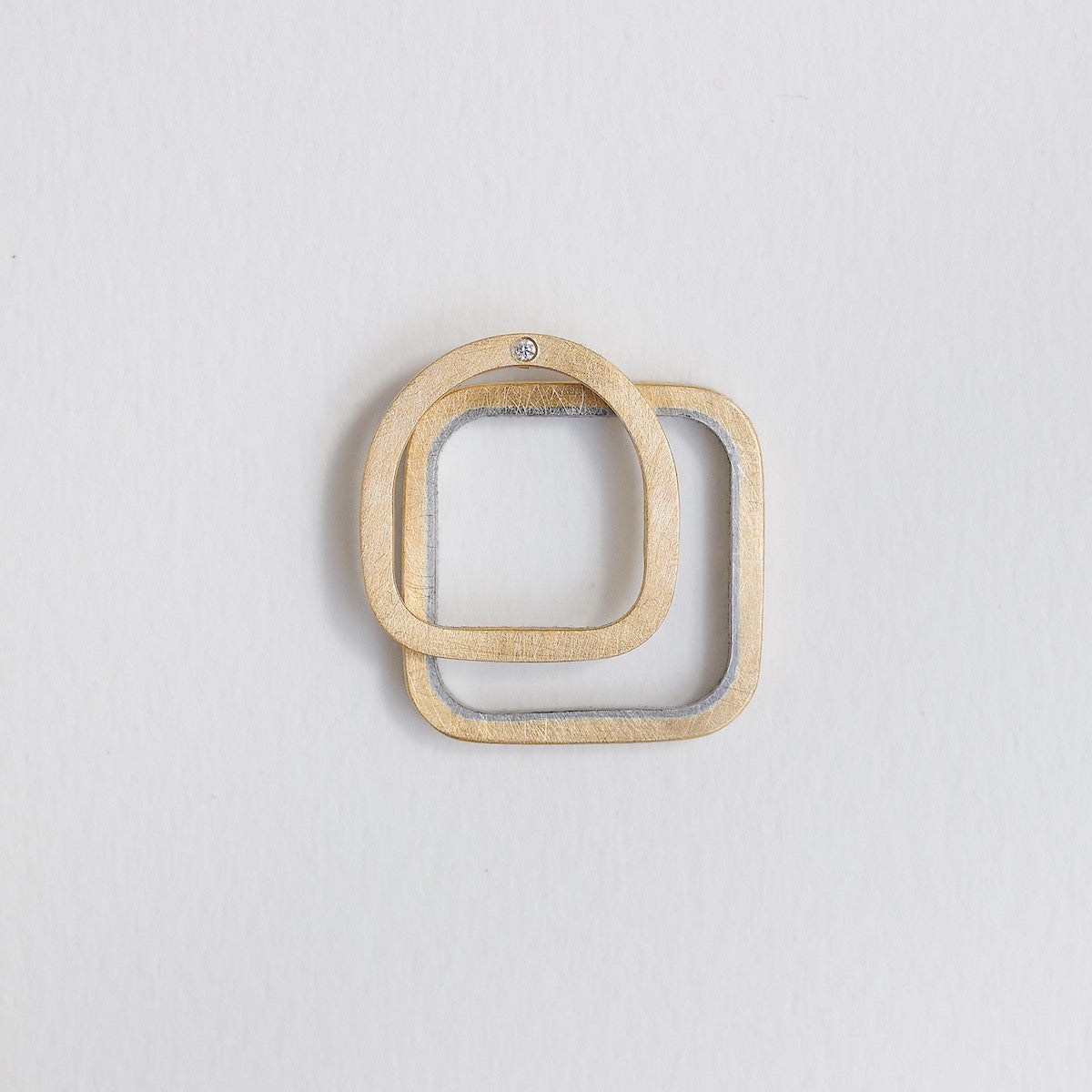 'Round Square' Pair of Gold and Platinum Wedding Rings
