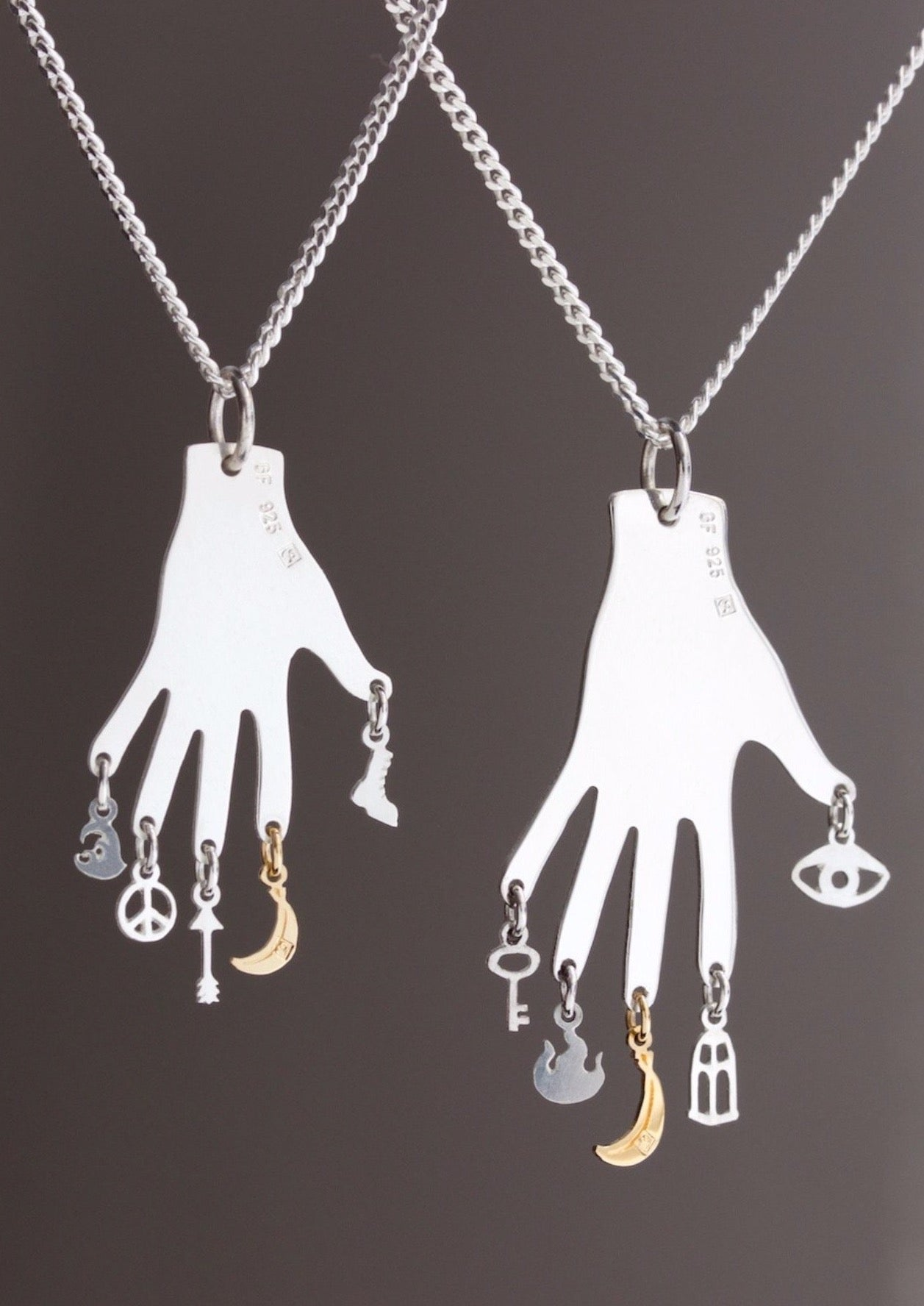 Philosophers Hand / Talisman / Pendant with charms