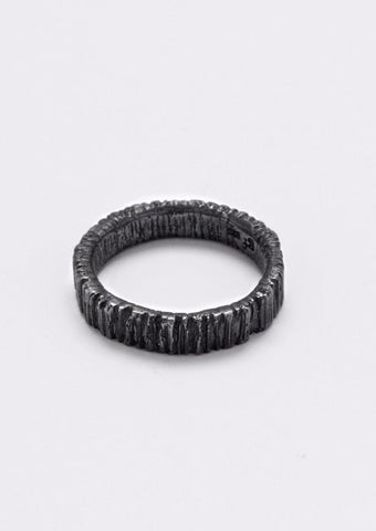 'Woodring No. 5' Unisex, Oxidized Silver Ring
