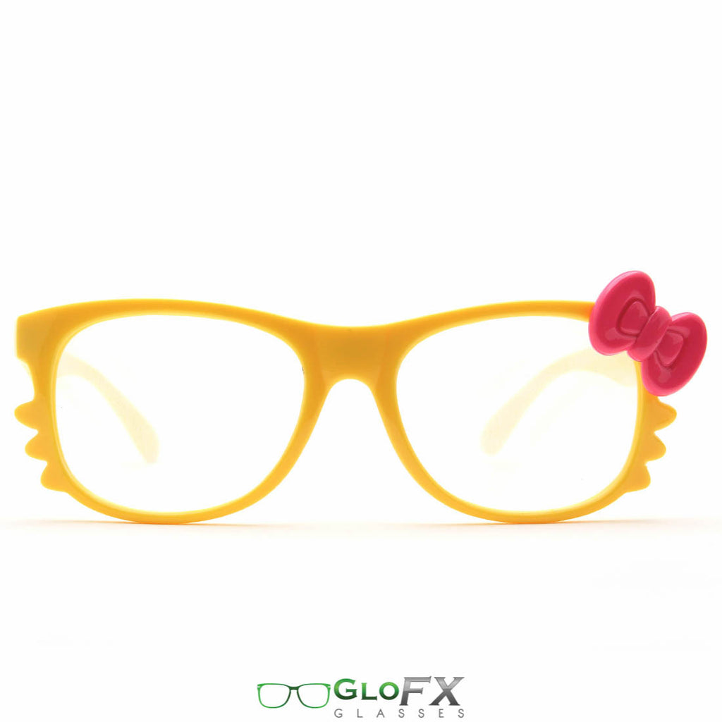 GloFX Women's Kitty Yellow Diffraction Glasses