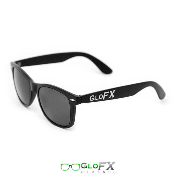 GloFX Ultimate Diffraction Glasses with optional Matt Black Frame and Black Tint
