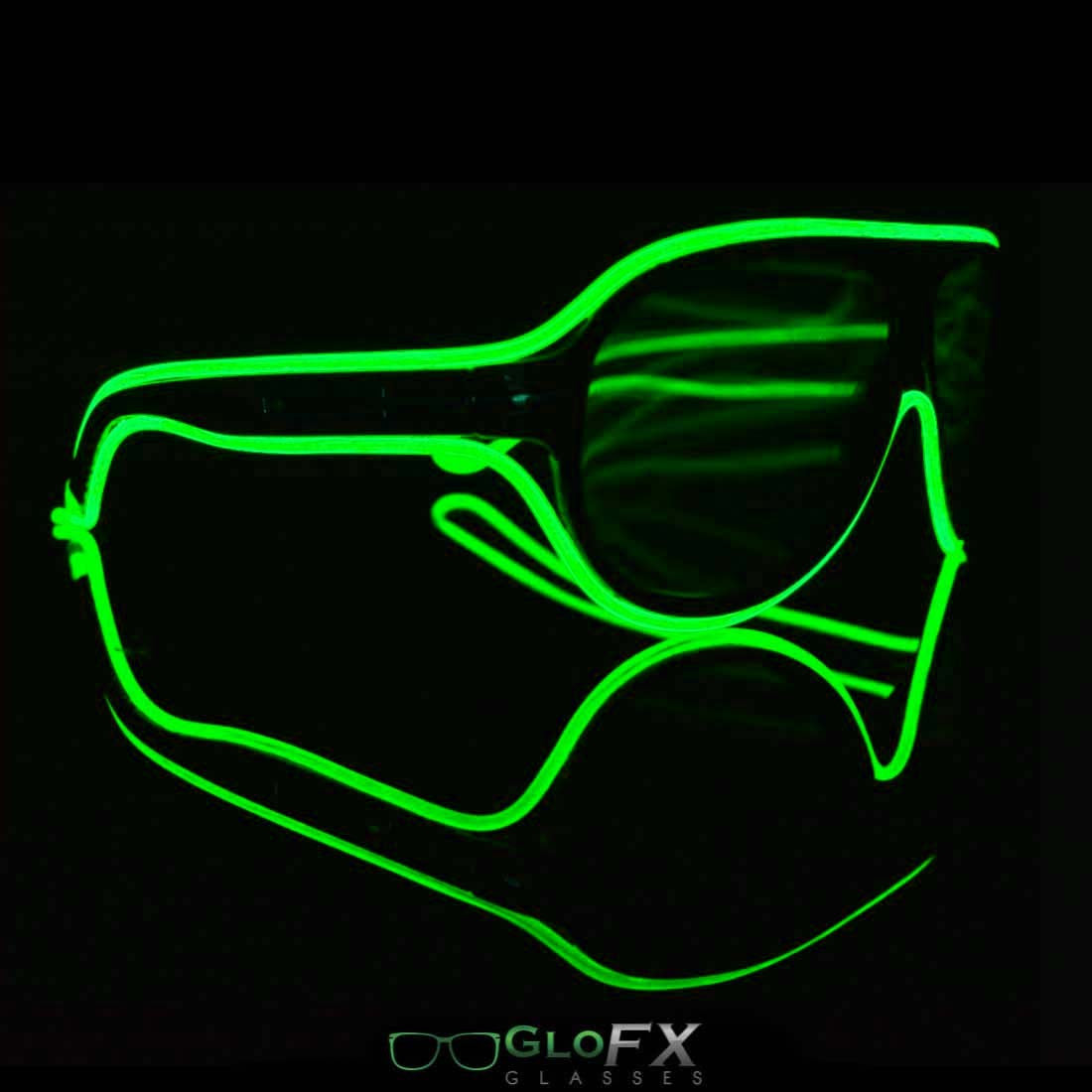GloFX Aviator Diffraction Glasses with GREEN Luminescence