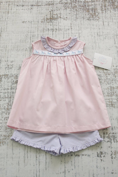 Samantha Ribbon Top in Pink Pique (#23) with Lavender Check (#2) and Unicorn Ribbon (Trim T)