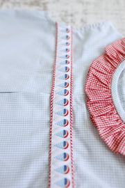 Zoe Ribbon Top in Blue Gingham (#5) with Red Gingham (#7) and Snow Cones Ribbon (Trim P)