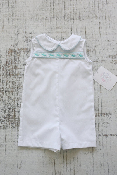 Cohen Ribbon Shortall in Blue Bitty Dot (#56) with Blue Pique (#32) and Sea Turtle Ribbon (Trim V)