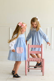 Pocket Jumper Dress in Charleston Check and Pink Pique
