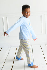 Boy Cuff Pant in Sumter Stripe and Cobalt Pique