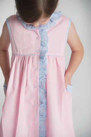Ruffled Jumper Dress in Pink and Blue Gingham (IN STOCK)